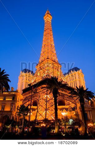 Eiffel Tower in Las Vegas at night