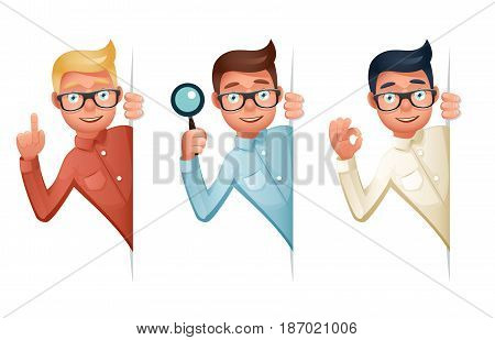 Search Help Looking Out Corner Cartoon Businessman Character Icon Magnifying Glass Symbol Retro Vintage Vector Illustration