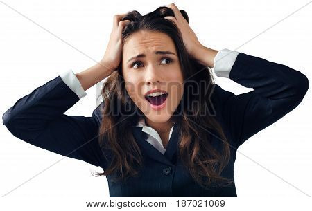 Woman businesswoman shocked embarrassed hands on head yelling female