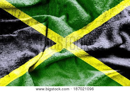 Jamaica flag with a grungy worn fabric texture 3D illustration
