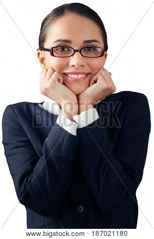 Woman businesswoman female caucasian shrug hands on face resting on hand