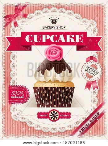 illustration of a shabby background, poster of confectionery bakery with cupcakes and a lacy frame for your text