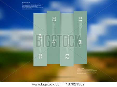 Illustration infographic template with motif of rectangle vertically divided to four shifted blue sections with simple sign number and sample text. Blurred photo is used as background.