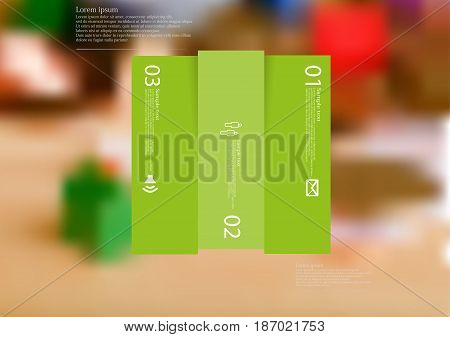Illustration infographic template with motif of rectangle vertically divided to three shifted green sections with simple sign number and sample text. Blurred photo is used as background.