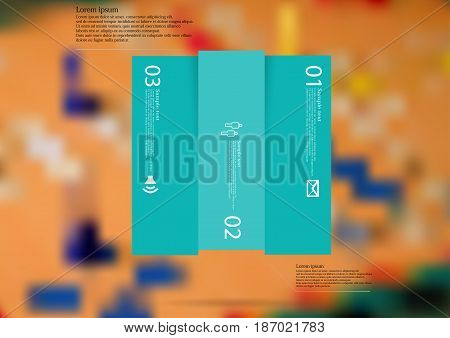 Illustration infographic template with motif of rectangle vertically divided to three shifted blue sections with simple sign number and sample text. Blurred photo is used as background.