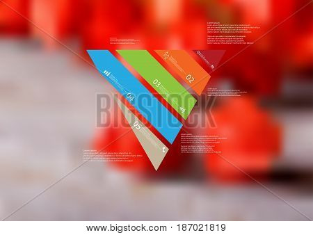 Illustration infographic template with motif of triangle askew divided to five standalone color sections with simple sign number and sample text. Blurred photo is used as background.