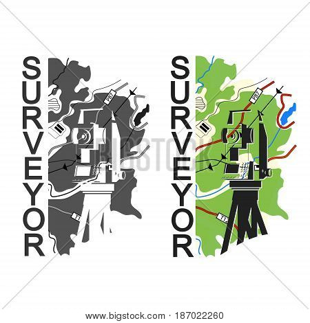 Geodesy and cartography symbol for surveyor illustration