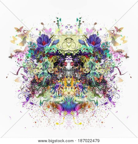 Abstract colorful symmetrical floral illustration with butterflies