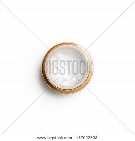 Container of moisturizing face cream on white background. Top view, flat lay. Fashion woman still life. Pop female things, medicine and cosmetic theme