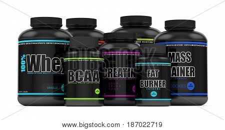 3D Render Of Bcaa, Whey, Fat Burner, Mass Gainer And Creatine