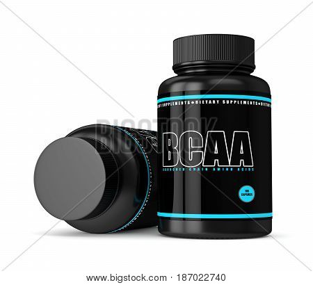 3D Render Of Bcaa Bottles With Pills Over White