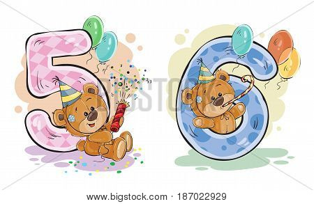 set of numbers being in the legs in a fun teddy bears, template greeting card for a birthday child. Part two - the numbers 5, 6