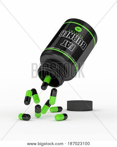 3D Render Of Fat Burner Bottle With Pills