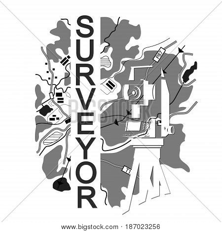 Symbol for surveyor. Geodesic device and map.