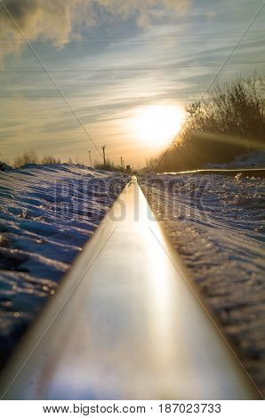 Sun and railroad, train travel and journey background.