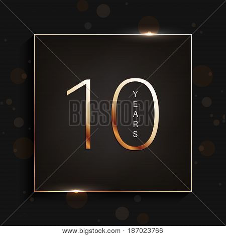 10 years anniversary gold banner on dark background. Vector illustration.