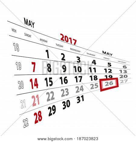 May 26, Highlighted On 2017 Calendar.