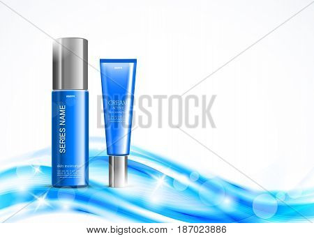 Skin moisturizer cosmetic design template with blue realistic plastic bottles on light soft dynamic wavy shiny lines background. Vector illustration