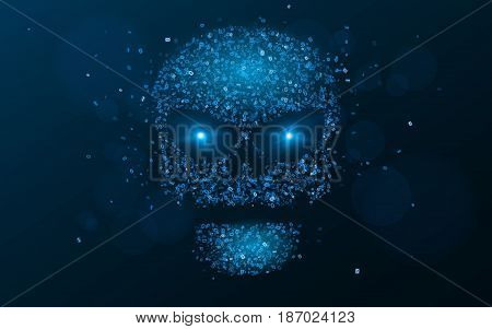 Hacking system. An abstract luminous skull of blue color from a binary code. The data is under threat. Hi-tech and programming. Flaming neon eyes. Vector illustration. EPS 10