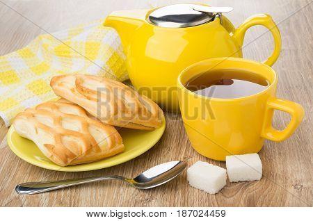 Yellow Teapot, Cup Of Tea, Spoon, Lumpy Sugar, Pies