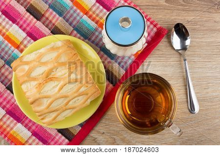 Pie In Saucer, Sugar Bowl On Napkin, Cup Of Tea