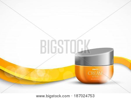Skin moisturizer cosmetic design template with orange realistic package on wavy curved dynamic light smooth lines background. Vector illustration