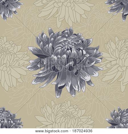 Seamless blue pastel colored chrysanthemum pattern.Chrysanthemum pattern