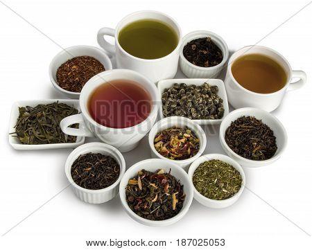 Tea tea cup cups tea leaves beverage isolated on white dried tea