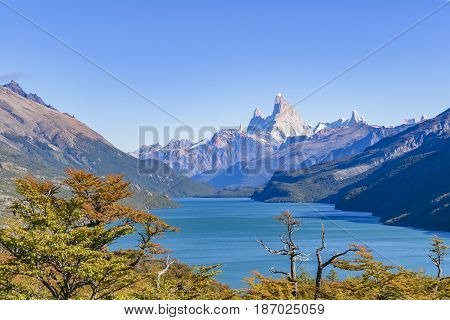 Fitz Roy And Poincenot Mountain Lake View - Patagonia - Argentina