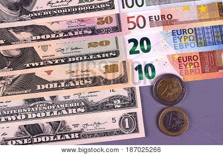Money Background American Dollars And Euro Different Denominations.