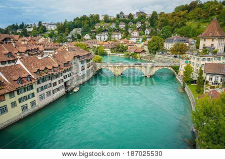 The Aare which is the river flow in summer time at Bern Switzerland