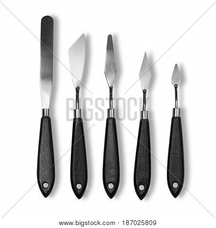 set new painting palette knifes isolated on white with clipping path