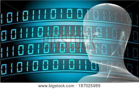 Artificial Intelligence Conceptual Illustration Wallpaper. Future Technology Background  Illustration Vector.