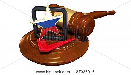 Russian Election Interference Legal Gavel Concept 3D Illustration