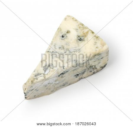 A wedge of full fat soft blue cheese isolated on white. with clipping path