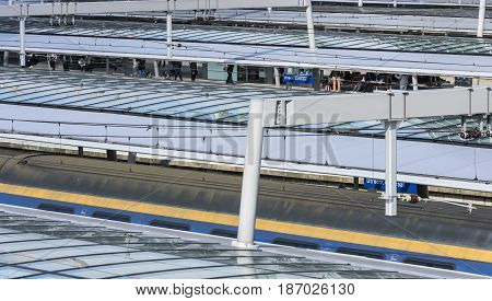 Utrecht The Netherlands - March 23 2017: Railway station Utrecht Centraal of the NS with glass roofs of the platforms.