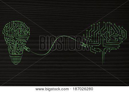 Lightbulb Made Of Electronic Circuits Powering Artificial Brain Through A Plug