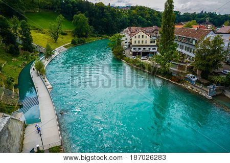 The Aare which is the river flow in Bern Switzerland
