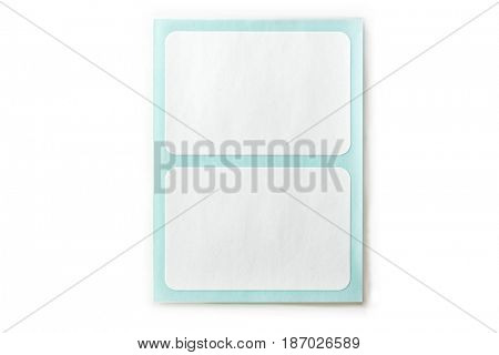 White labeling stickers with blue backing sheet.Isolated on white. big label.
