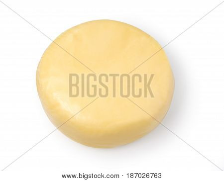 Cheese wheel on white background isolated with clipping path