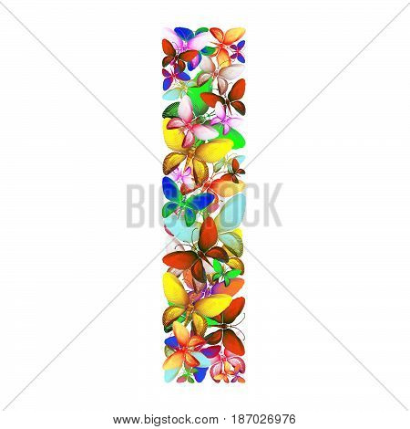 butterflies of different colors, made of sea shells isolated on a white background stacked in the form of letters I