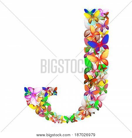 butterflies of different colors, made of sea shells isolated on a white background stacked in the form of letters J
