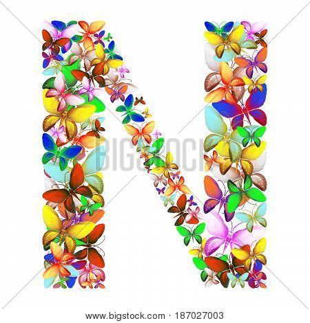 butterflies of different colors, made of sea shells isolated on a white background stacked in the form of letters N