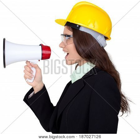 Megaphone bullhorn woman engineer shouting businesswoman female