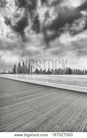 Black And White Photo Of Dubai Waterfront Skyline, Uae.