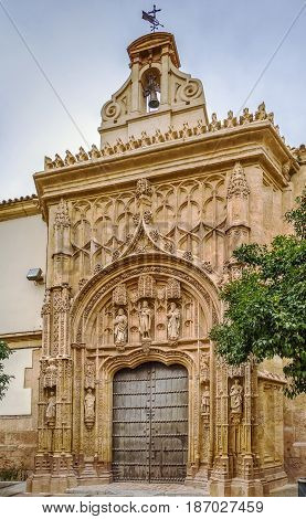 The San Sebastian hospital is a 16th century building located just in front of the western facade of the Mosque of Cordoba Spain