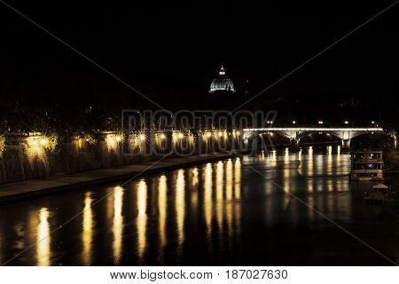 San Pietro in Rome seen from the Tiber River in August