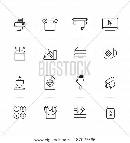 Icons types of printing, typography. Vector illustration in thin line style.