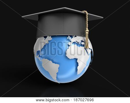 3d illustration. Graduation cap and 3d Globe. Image with clipping path