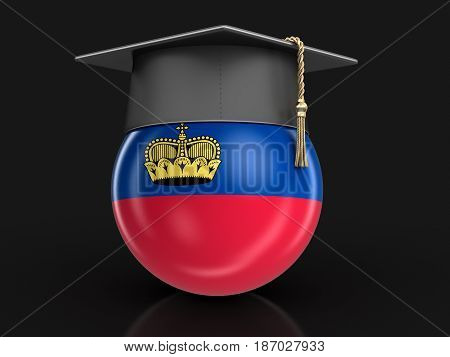 3d illustration. Graduation cap and flag of Liechtenstein. Image with clipping path